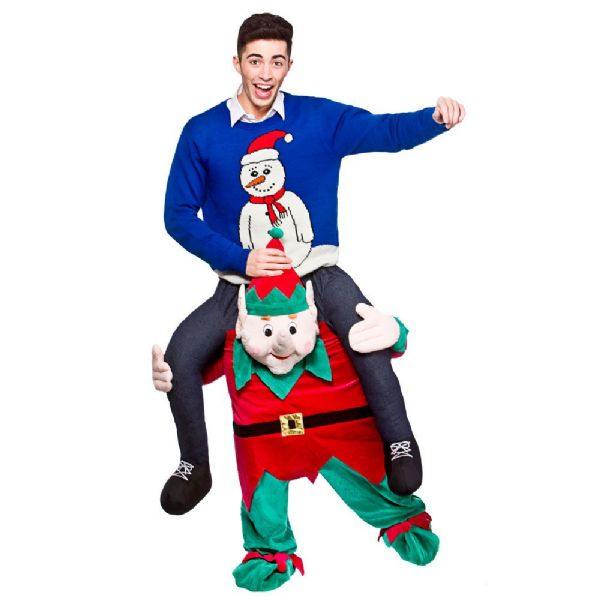 Adults Carry Me Christmas Elf Costume for Festive Xmas Nativity Fancy Dress